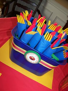 yellow silverware with blue/red for elmo party; yellow silverware with pink for belle Wiggles Party, Wiggles Birthday, The Wiggles, Primary Color Party, Primary Colors, 3rd Birthday Parties, Birthday Fun, Birthday Ideas, Sesame Street Birthday