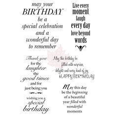 Woodware Clear Stamp Set - Delightful Verse - Overstock™ Shopping - Big Discounts on Clear Cling Stamps Greeting Card Sentiments, Birthday Sentiments, Birthday Messages, Birthday Quotes, Birthday Wishes, Happy Birthday, Birthday Greetings, Greeting Cards, Birthday Blessings