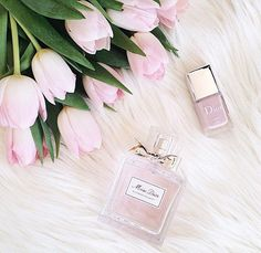 Pretty pink tulips, nail polish Miss Dior perfume