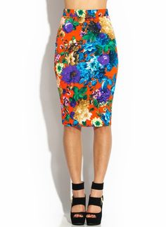 Floral Spray Midi Pencil Skirt