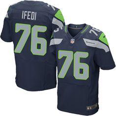 Men's Nike Seattle Seahawks #76 Germain Ifedi Elite Steel Blue Team Color NFL Jersey