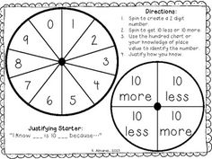 Free!  10 More, 10 Less Spin(for Common Core 1.NBT.5).  Can also be used as a refresher for second graders about to begin 2.nbt.8.