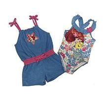 Ariel 1 Piece Swimsuit With Matching Cover Up Romper - 3T