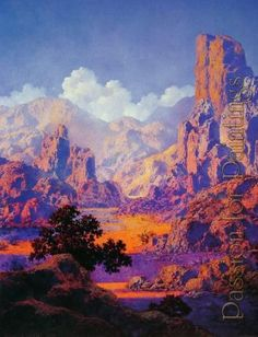 Arizona by Maxfield Parrish, Oil on panel, 20 x Fantasy Landscape, Landscape Art, Landscape Paintings, Fantasy Art, Robert Motherwell, Jackson Pollock, Keith Haring, Maxfield Parrish, American Illustration