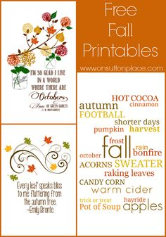 30 Free Fall Autumn Original Printables - On Sutton Place Autumn Crafts, Holiday Crafts, Fall Cards, Fall Diy, Free Prints, Fall Harvest, Happy Fall, Journal Cards, Fall Halloween