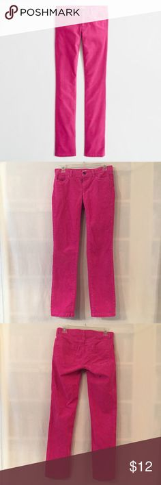 """J. Crew 26S pink matchstick straight narrow cords EUC. No rips, stains, tears, holes, or fading. J. Crew factory matchstick straight and narrow corduroy pants in vintage berry (VBE) pink. 99% cotton, 1% spandex for a hint of stretch. 26S, short. Sits at hip. Straight through hips and thigh, with straight, narrow leg. Typical 5-Pocket style. Measurements (flat): waist 14.5"""", hip 17"""", rise 7.5"""", inseam 30"""", total length 37.5"""".  3"""" zipper front with button closure. Machine wash. Style 17397. No…"""