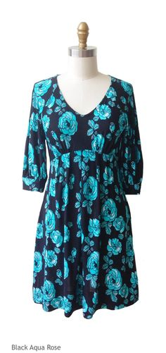The Sophie Dress is great for triangle, oval and rectangle shaped women. This blue floral print dress features a v-neck and 3/4 sleeve. It is the perfect pop of color to include in your Fall wardrobe.