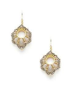 Faceted Grey Bead Curvy Geometric Shape Earrings