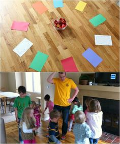 "Musical Rainbow Walk game: Cut out square rainbow paper sheets and 2 white ""cloud"" sheets. Make enough squares for each child. Play some music and when the music stops, the kids stop. Whoever is on the white clouds gets a rainbow candy treat, like Skittles or Starburst. @Marie - Make and Takes"