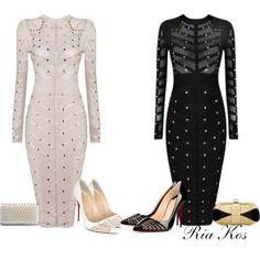 bandage dress by ria-kos on Polyvore featuring polyvore, fashion, style, Christian Louboutin and clothing