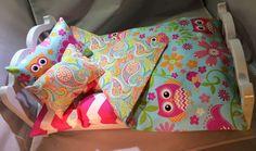"American Girl 18"" Doll Bedding 4 pc Owl doll bedding with Chevron Mattress | Handmade Gift Set by 2KrazyLadiesCrafts on Etsy"