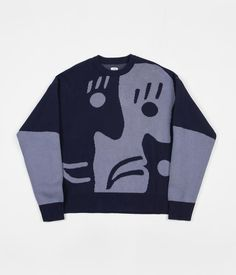 f25b0e7a8b Free Shipping   Free Returns   Shop the Polar Art Knit Sweatshirt in Dark  Blue and