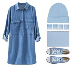 """""""hey my name is whatever you call me"""" by hanadarkos ❤ liked on Polyvore featuring Converse, Topshop, Summer, casual, simple, Blue and longsleevedress"""