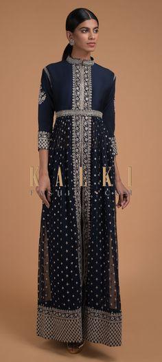 Midnight Blue Anarkali Suit With Sequins Embellished Buttis And Front Slit Online - Kalki Fashion Indian Designer Outfits, Indian Outfits, Wedding Salwar Kameez, Party Wear Dresses, Anarkali Suits, Bollywood Fashion, Silk Jumpsuit, Midnight Blue, Blue Jumpsuits
