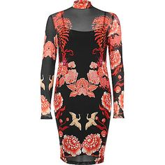 Black floral print mesh bodycon dress - bodycon dresses - dresses - women