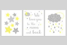 Moon and Stars Nursery Decor Grey and Yellow Baby Decor Gender Neutral Nursery Set of 3 Prints Clouds and Raindrops Baby Boy Baby Girl