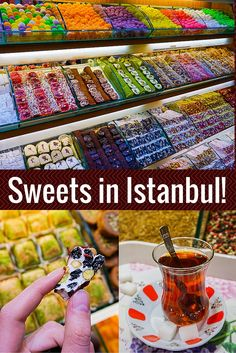 Delicious photos of sweets (Turkish Delight!) and other foods (Turkish tea!) in the Spice Bazaar in Istanbul: One of the most famous foodie markets in Turkey.
