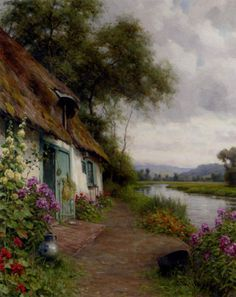 """""""A Riverside Cottage"""" by Louis Aston Knight (1873-1948, France)"""