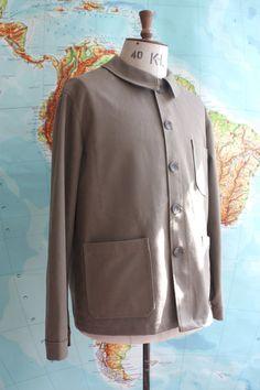 Hand Made Mens Fawn Cotton Twill Workwear Jacket by WaysideFlower