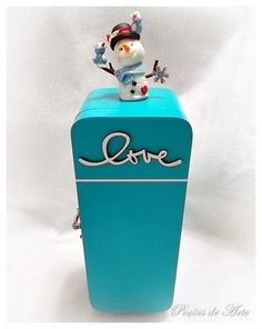 Lojinha Poções de Arte: Caixa de Chá - Geladeira Azul.
