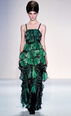 "Ivana Helsinki.  '11-'12 ""Velvet Lake"" collection.  ""With fronds like these, who needs anemones?""  Ahem.  The line seems to have an emphasis on feathers; their '12 spring-summer collection centered on a feather print."