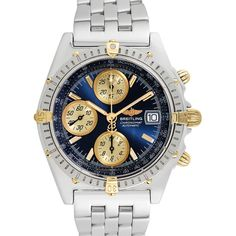 Breitling Men's Vintage Breitling Chronomat Vitesse Watch, 40.5mm -... (3,970 CAD) ❤ liked on Polyvore featuring men's fashion, men's jewelry, men's watches, blue, vintage mens watches, stainless steel mens watches, breitling mens watches and mens wide band watches