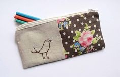 bird pencil case with chocolate brown floral fabric