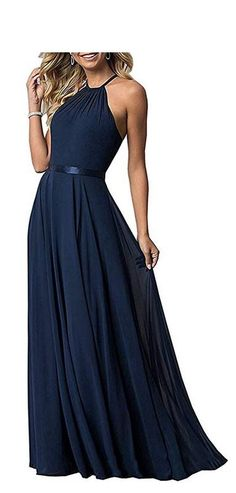 a6562b5fc97 Bridesmaid Dresses Long Halter Aline Chiffon Prom Party Gown 2019 Formal  Women at Amazon Women s Clothing store