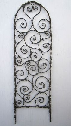 Random Barbed Wire Spirals Trellis  Made to Order