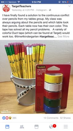 A Solution for the Pencil Problems (Time 4 Kindergarten) 2nd Grade Classroom, Future Classroom, School Classroom, Year 1 Classroom Layout, Primary Classroom Displays, Classroom Table, 4th Grade Ela, Classroom Helpers, Classroom Setting
