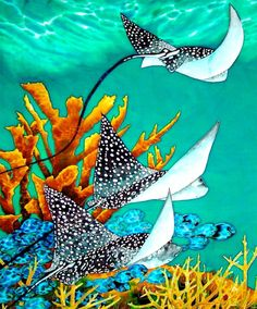 Jean-Baptiste is the world's best silk painting artist. He specializes in tropical art painted in rich vibrant colours. Watercolor Fish, Watercolor Paintings, Sea Paintings, Watercolour, Silk Painting, Artist Painting, Mural Painting, Beach Mural, Underwater Painting