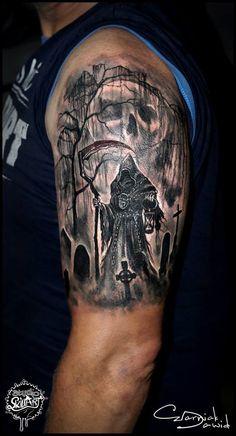 #cemetery tattoo ideas #graveyard tattoos #scary tattoos #skull tattoos #tombstone tattoo ideas #haunted tattoos #haunted graveyard ideas #graveyard tattoo ideas