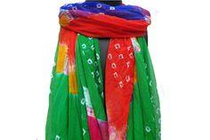 Tie and dye scarf/ multicolored  scarf/ pom pom  scarf/
