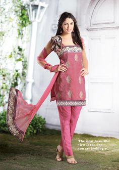 $70 Pink Sleeve less Cotton Short Length Designer Salwar Kameez 21213