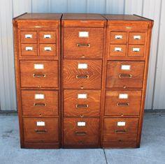 1900s Yawman Erbe Globe Type 3 Part RARE Quartersawn Oak File Cabinet System…