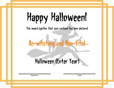 Award Certificate Templates   Halloween award with a modern orangen frame design, featuring a watermark that depicts a witch riding her broom. All major text regions may be fully edited, including the award title.