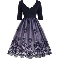 V Neck Floral Lace Panel Vintage Dress ($22) ❤ liked on Polyvore featuring dresses, floral print dress, vintage floral print dress, blue vintage dress, v-neck dresses and blue floral print dress