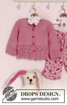 DROPS Baby 11-2 - Knitted DROPS Jacket with pattern in Muskat. - Free pattern by DROPS Design