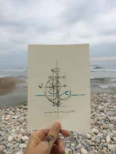 "Art Tattoo Original Sheet in ink "" Ancla """