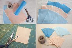 Mi cesta de mimbre: Guirnaldas de fieltro y tela de saco.