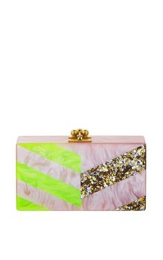 Jean Diagonals Neon and Glitter Clutch by Edie Parker Now Available on Moda Operandi
