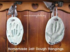 Preserve those precious handprints in homemade salt dough and hang them. Great Mother's Day gift idea. The tutorial's at Mummy Deals.