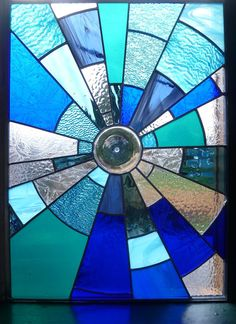 Stained Glass Panels   Stained Glass Panel Midnight Suncatcher by BlueFishStudios