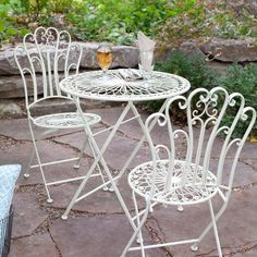 white metal outdoor furniture. Contemporary Outdoor 3Piece Folding Metal Outdoor Patio Bistro Set In Matte Ivory White Inside Furniture I