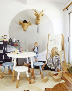 Emily Henderson advises to put a playroom in your kitchen.