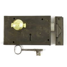A simple compact steel cased brass trimmed antique night latch. Featuring dead locking latch bolt. Operates from inside with sliding knob and or key, and from outside with key only. Fully restored and refurbished and supplied complete with period iron key and replacement cast iron decorative keep.