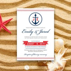 Printable Weddings Invitation Nautic Red & Navy Sailor Anchor Summer Invite EDITABLE Sea Wedding Cards Template Diy INSTANT DOWNLOAD Digital by AmeliyCom on Etsy https://www.etsy.com/listing/237406817/printable-weddings-invitation-nautic-red