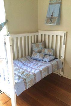 Cot Bedding: Quilt, toddler pillow case Elephant design Handmade