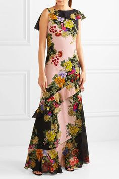 Etro - Ruffled Floral-print Crepe And Silk-chiffon Maxi Dress - Pink - IT44