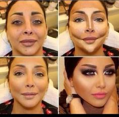 Art or deception?, makeup is powerful..I personally think she looks better in the third picture
